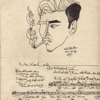Nhạc sĩ Anh Việt Thu - thủ bút & chân dung vẽ bởi Tạ Tỵ