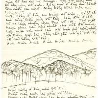 Thủ bút Trịnh Công Sơn với minh họa đồi núi Blao 1964-1965 gửi Dao Ánh
