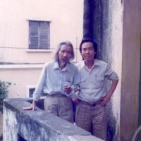 Văn Cao – Đinh Cường, trước nhà Văn Cao 108 Yết Kiêu, Hànội- 1987